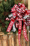 The Dorothy Red Gray & White Farmhouse Christmas Tree Topper bow~Checkered xmas bow for wreaths~large bow for lanterns~Bow long streamers