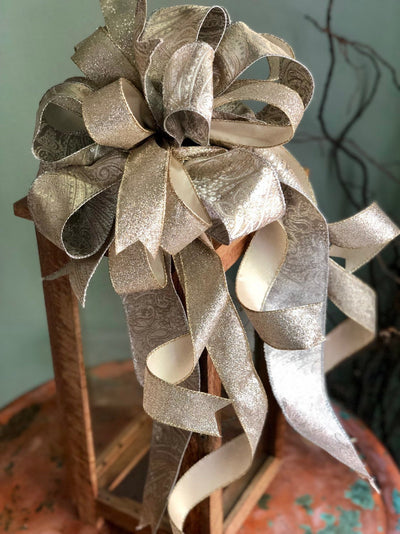 The Princess Platinum Gold & Silver Paisley Christmas Tree Topper Bow~Xmas bow for wreaths~lantern bow~large bow with streamers~elegant bow
