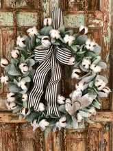 Load image into Gallery viewer, The Colbie Lambs Ear & Cotton Spring Wreath for front door~farmhouse wreath, Valentines day wreath, fixer upper wreath, rustic wreath