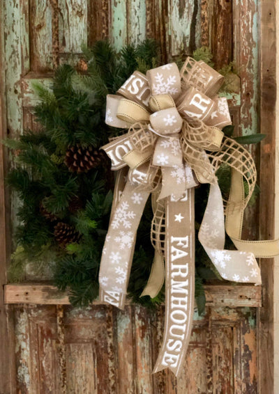 The Bess Tan & White Farmhouse Christmas Tree Topper Bow~large xmas snowflake bow for wreaths~rustic beige lantern bow