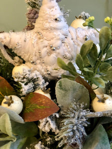 The Rosaleen Rustic Farmhouse Christmas Centerpiece For Table~woodsy snowy arrangement with star~Winter Cabin centerpiece~white arrangement