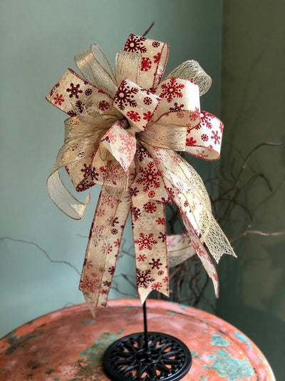 The Tracy Red Gold & White Snowflake Christmas Bow for wreaths and lanterns~Xmas bow~bow with long streamers~Traditional red plaid