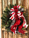 The Angus Red White & Black Farmhouse Vintage Truck Christmas Tree Topper Bow~buffalo check wreath bow~bow for lanterns~mailbox bow