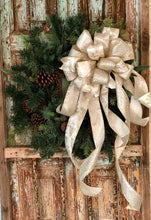 Load image into Gallery viewer, The Nicola Gold & Silver Christmas Tree Topper Bow~Xmas bow~bow with long streamers~Platinum large topper bow~swag bow~mailbox Bow