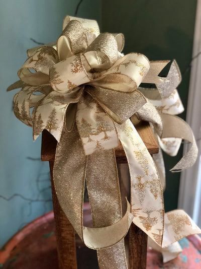 The Nicola Gold & Silver Christmas Tree Topper Bow~Xmas bow~bow with long streamers~Platinum large topper bow~swag bow~mailbox Bow