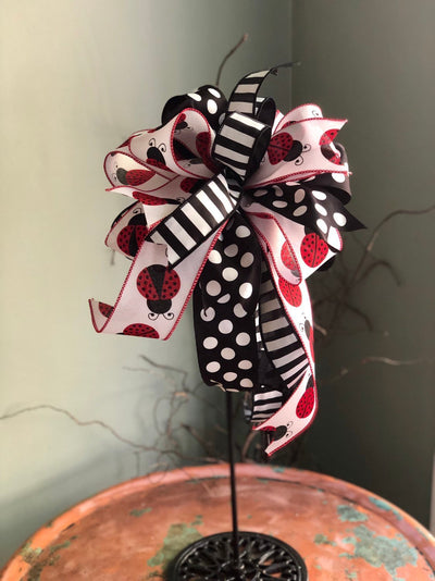 The Eve Red Black & White Ladybug Bow For Lanterns and Wreaths~Swag bow~Mailbox bow~valentines gift~polka dot bow~stripe bow~long streamer