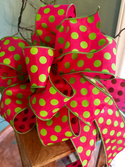 The GiGi Hot Pink & Lime Green Polka Dot Bow For Wreaths and Lanterns~Easter decor~spring mailbox decoration~swag adornment~party supply