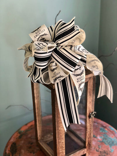 The Emaline Black & White Stripe Farmhouse Bow For Wreaths and lanterns~French country decor~mailbox country decorations~fixerupperdecor