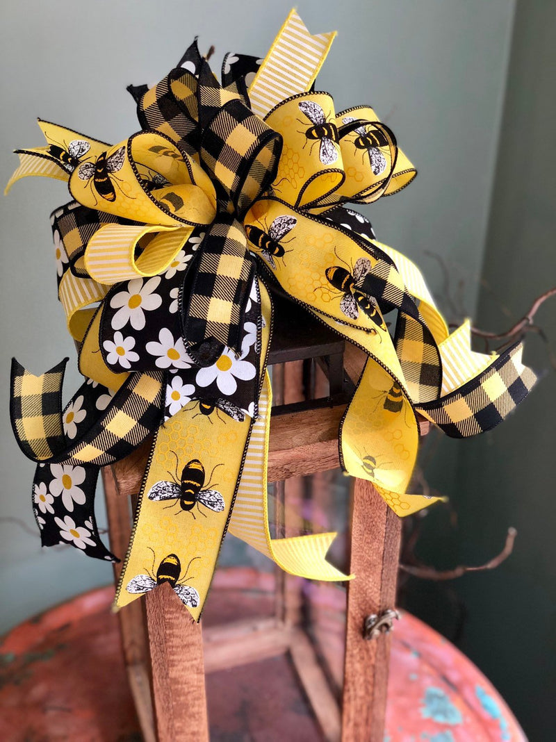 The Queen Bea Yellow & Black Bow For Wreaths and Lanterns~Easter baby shower decor~mailbox decoration~swag adornment~bumblebee ribbon