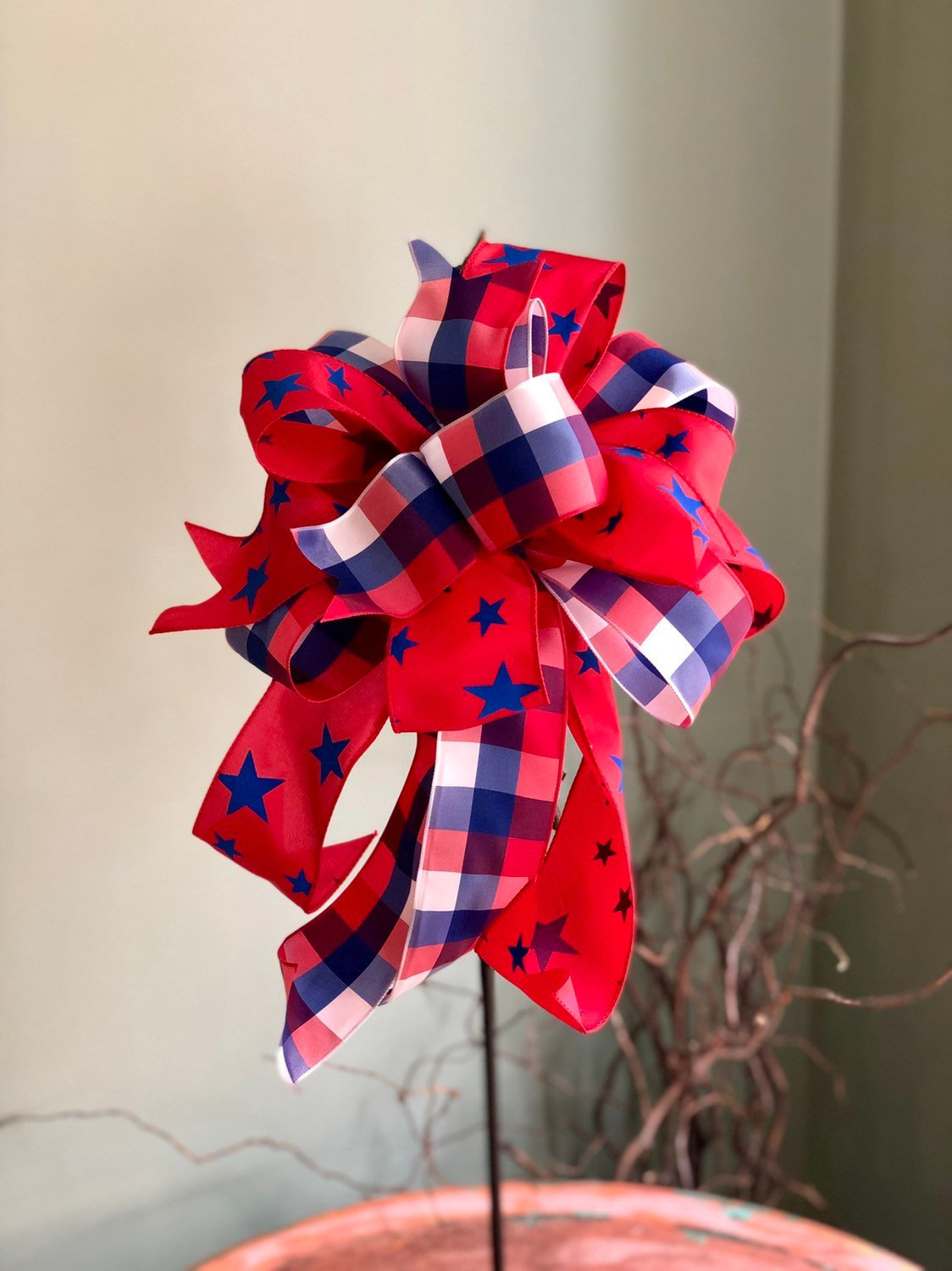 The Sybil Red White & Blue Bow For Wreaths and Lanterns~American flag decor~fourth of July decorations~stars and stripes fabric~Americana