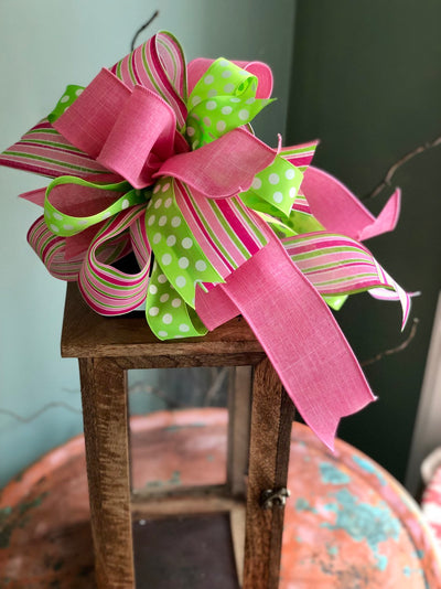 The Pauline Pink & Lime Green Bow For Wreaths and Lanterns~Easter baby shower decor~mailbox decoration~swag adornment~unique party supply