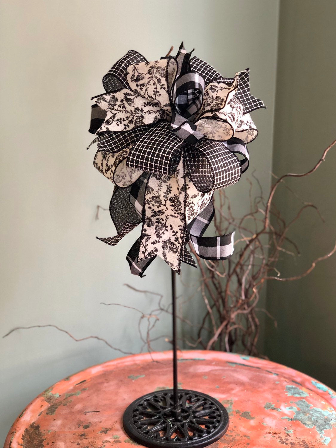 The Dolly Black & White Toile Farmhouse Bow For Wreaths and Lanterns~French country decor~mailbox country decorations~fixerupperdecor