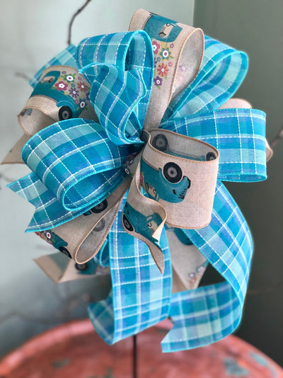 The JoJo Tan & Blue Bow For Wreaths and Lanterns~Easter baby shower decor~mailbox decoration~swag adornment~unique party supply~truck ribbon