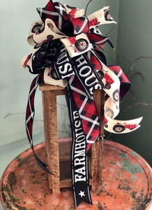 The Reba Red Black & White Farmhouse Lantern Bow~Tractor Bow for wreaths~Swag bow~Bow for wreaths~long streamer bow
