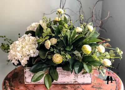 The Everly Rustic Farmhouse Spring XL Centerpiece For Table~All season ranunculus~Natural green arrangement~white hydrangea wedding florals