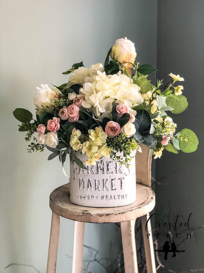 The Lizzy Rustic Farmhouse Spring Centerpiece For Table~All season cottage~French country shabby chic~white hydrangea wedding florals