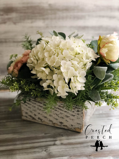 The Rosalie Spring Hydrangea Blush Pink & Cream Cottage Centerpiece For Table~French country wedding floral decor~Easter tabletoparrangement