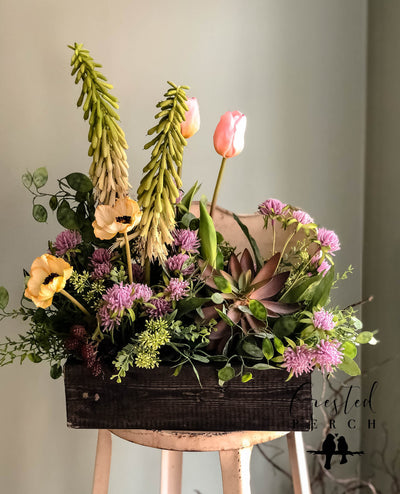 The Sophia Spring Garden Centerpiece For Table~All season natural box arrangement~wedding florals~wedding decor~year round real touch floral