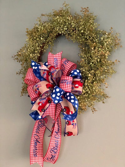 The Virginia Red White & Blue American Flag Bow For Lanterns and Wreaths~fourth of July decor~God Bless America~Patriotic Check polka dot