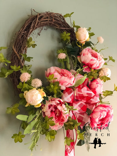 The Fleur Pink & Cream Spring Peony XL Farmhouse Wreath for front door~bridal florals~wedding decorations~Garden decor~Baby shower