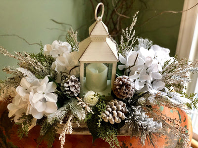 The Angelica Rustic Farmhouse Winter Centerpiece For Table~snowy iced arrangement with lantern~Winter Cabin centerpiece~Pine arrangement