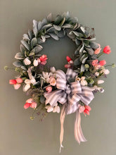 Load image into Gallery viewer, The Antoinette Lambs Ear and Tulip Spring Valentine Wreath for front door~farmhouse wreath, rustic cabin wreath, bridal wreath, wedding