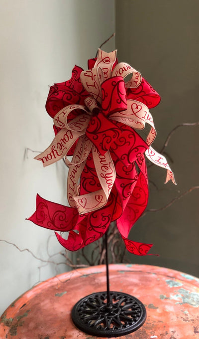 The Aria Beige & Red Valentines Day I Love You Bow For Wreaths~Swag bow~mailbox bow~Lantern Bow~farmhouse bow~red and biege elegant bow