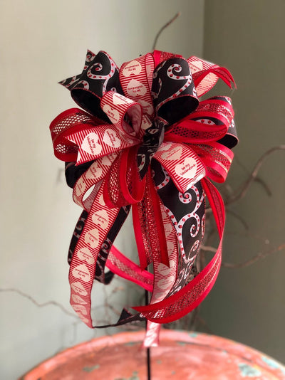 The Nancy Red Black & White Valentines Day Bow For Lanterns and Wreaths~Swag bow~I love you bow~valentines gift~Vday bow