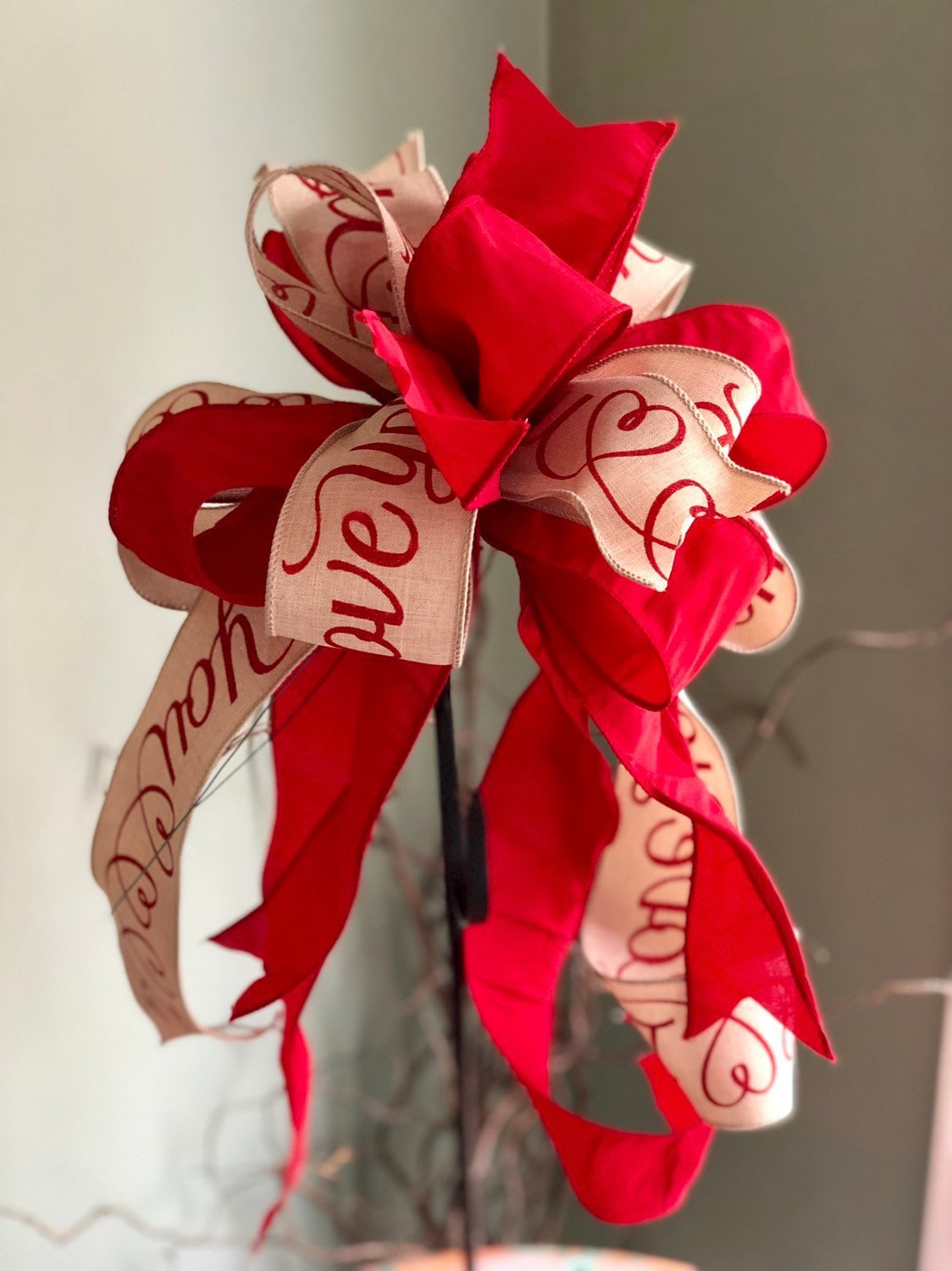 The Anais Red Black & White Valentines Day Bow For Lanterns and Wreaths~Swag bow~I love you bow~valentines gift~Vday bow
