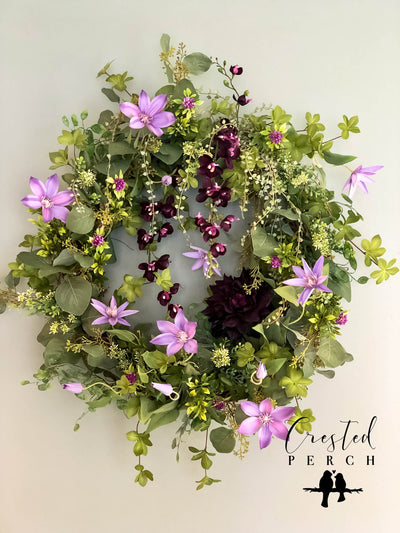 The Eden Garden Spring Wreath for front door~French country cottage farmhouse decor~purple Easter Mothers day~Wedding bridal decorations