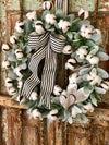 The Colbie Lambs Ear & Cotton Spring Wreath for front door~farmhouse wreath, Valentines day wreath, fixer upper wreath, rustic wreath