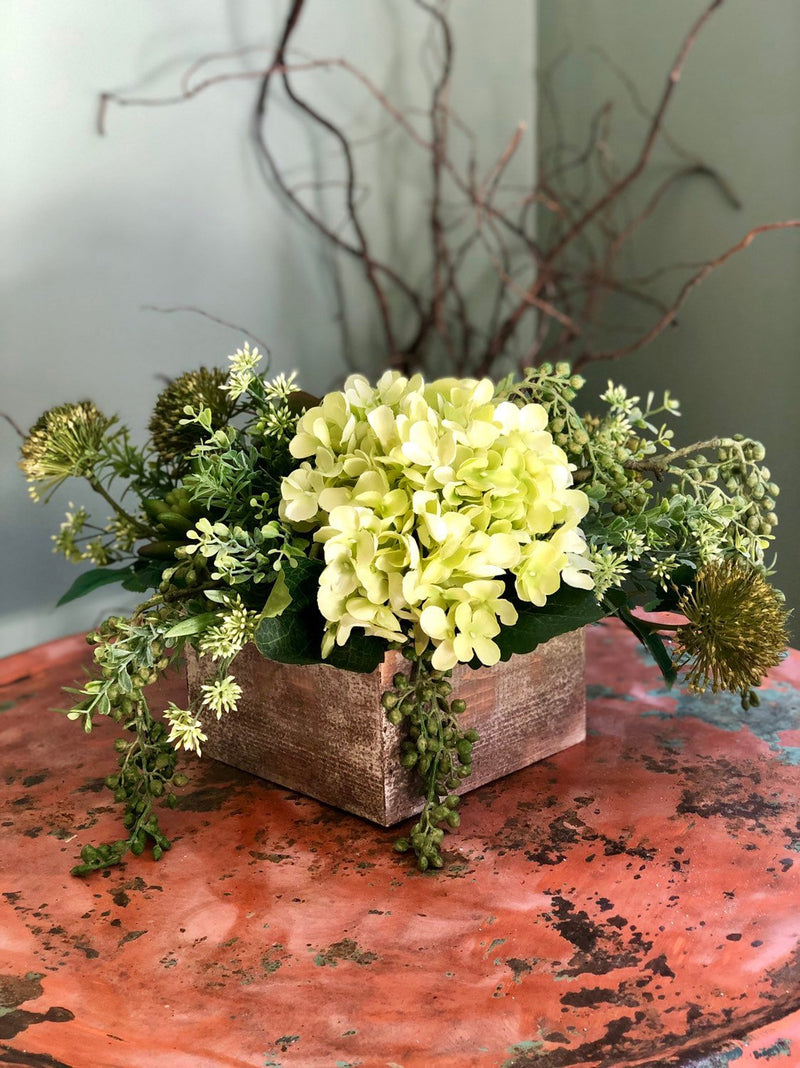 The Tara Spring Succulent Centerpiece For Table~All season natural white & green arrangement~wedding florals~wedding decor~natural garden