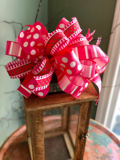 The Matilda Pink & White Polka Dot Spring Bow For Lanterns and Wreaths~baby girl Swag bow~valentines bow~valentines gift~Vday bow