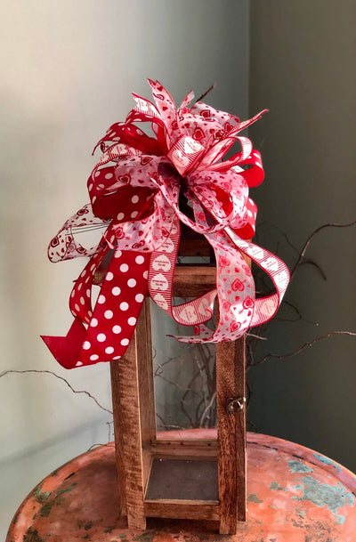 The Angie Red Black & White Valentines Day Bow For Lanterns and Wreaths~Swag bow~I love you bow~valentines gift~Vday bow