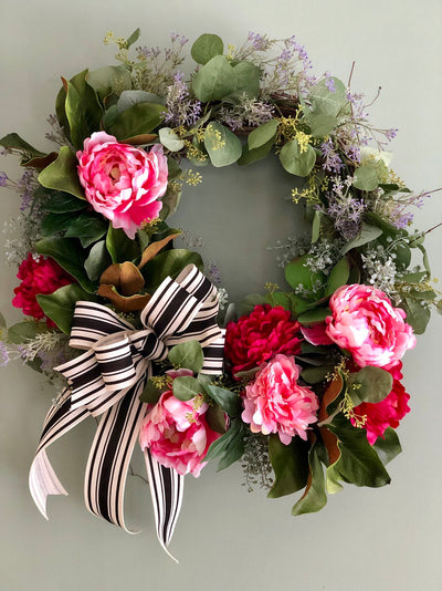 The Serenity Pink & Red Spring Peony and Dahlia Wreath for front door~XL farmhouse wreath, Eucalyptus wreath, bridal wreath, wedding