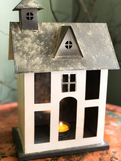 Farmhouse Metal Lantern Votive Candle Holder~Tabletop decoration~rustic farmhouse decor~Accent table decor~cottage decor~fixer upper style