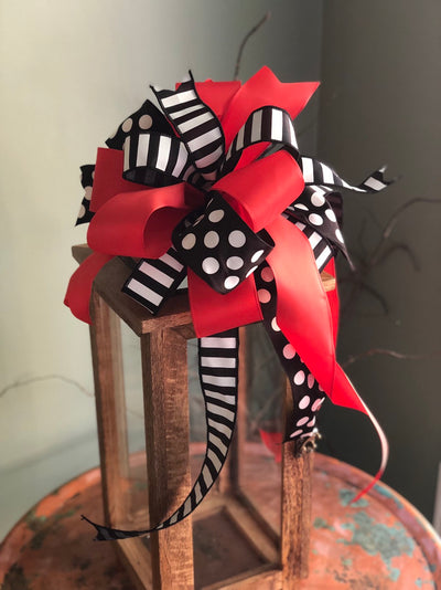 The Ava Red Black & White Polka Dot Bow For Lanterns and Wreaths~Swag bow~Mailbox bow~valentines gift~Vday bow~stripe bow~long streamer bow