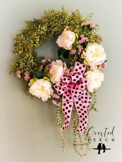 The Kinsley Peony Spring Valentine Wreath for front door~farmhouse wreath~rustic cabin wreath~bridal wreath~wedding wreath