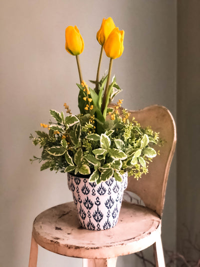 The Alana Potted Tulip Cottage Spring Centerpiece For Table~Easter arrangement~French country shabby chic~Natural garden wedding florals