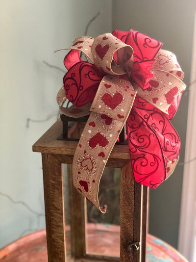 The Aretha Beige & Red Valentines Day I Love You Bow For Wreaths~Swag bow~mailbox bow~Lantern Bow~farmhouse bow~red and biege elegant bow