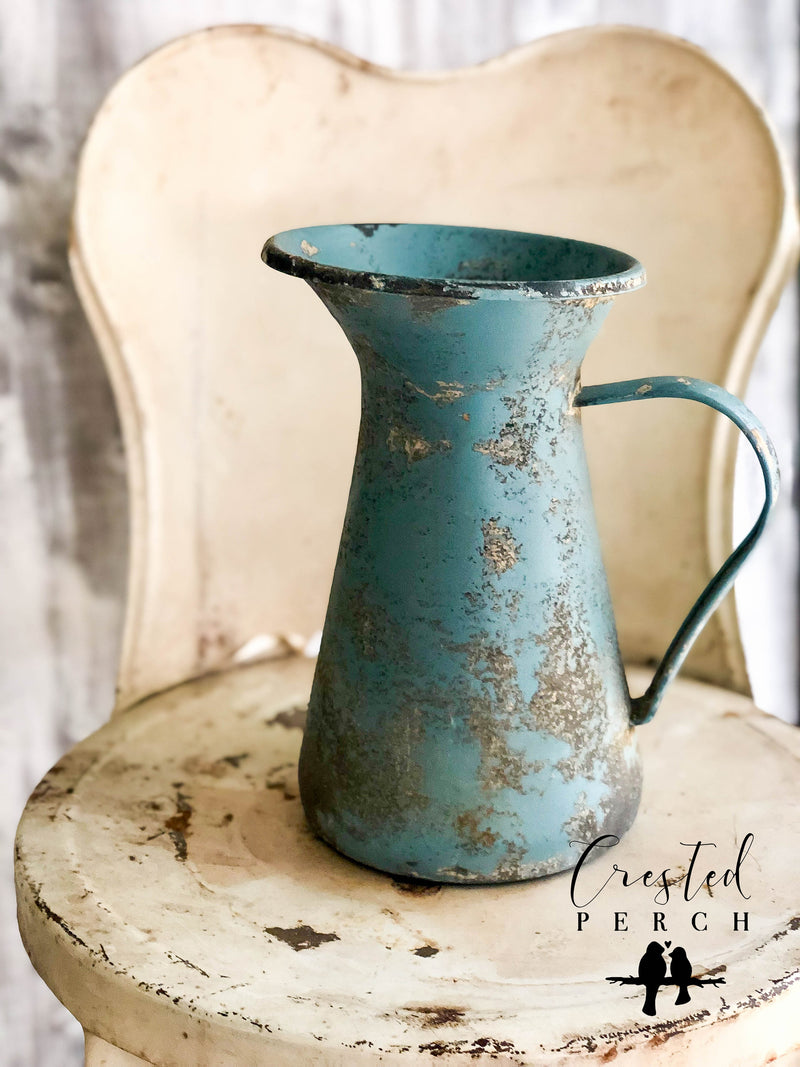 The Becca Distressed Farmhouse Metal Pitcher~fixer upper decor~cabin decor~farmhouse decor~flower vase
