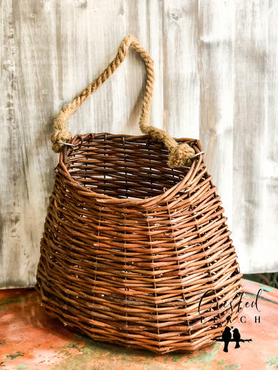 The Kenswick Brown Willow Hanging Wall Basket With Rope~Farmhouse lakehouse & cabin front door home decor~natural weave