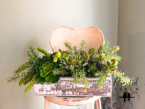 The Veda XL Spring Succulent Centerpiece For Table~All season natural green plant arrangement~wedding floral decor~year round silk flowers