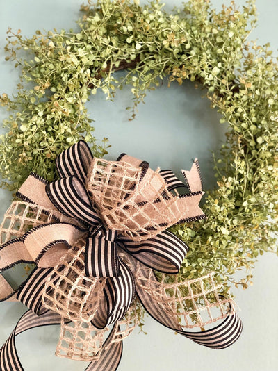 The Emory Beige & Black Farmhouse Bow For Wreaths and lanterns~primitive decor lanterns~mailbox country decorations~stripe fabric