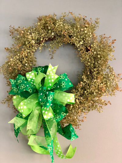 The Aelish Green St Patricks Day Bow For Wreaths & Lanterns~Luck of the Irish decor~spring st Pattys mailbox decoration~swag~party supply