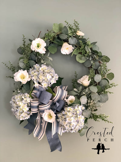 The Azure White & Blue Hydrangea Spring Wreath for front door~French country farmhouse decor~Easter Mothers day~Wedding bridal decorations