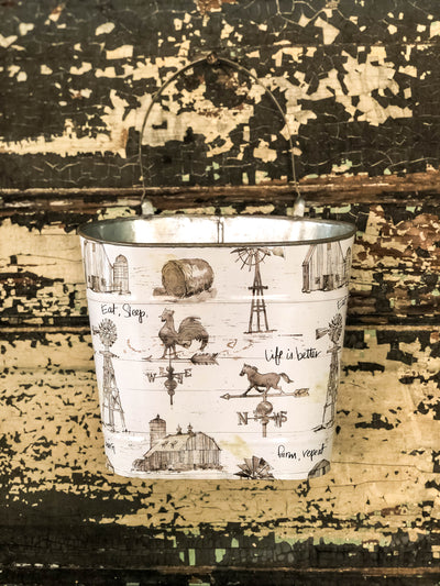 The Dorothy Cream & Black Farmhouse Metal Hanging Wall Pocket~Farm decor rural print garden planter~Country rustic decor~Fixer upper decor