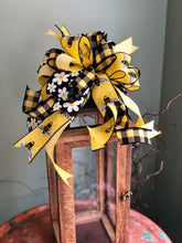 Load image into Gallery viewer, The Queen Bea Yellow & Black Bow For Wreaths and Lanterns~Easter baby shower decor~mailbox decoration~swag adornment~bumblebee ribbon