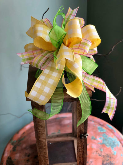 The Piper Yellow Pink & Lime Green Bow For Wreaths and Lanterns~Easter baby shower decor~mailbox decoration~swag adornment~party supply