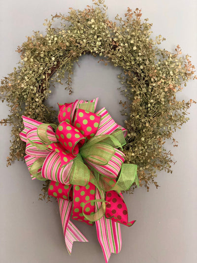 The Paulette Pink & Lime Green Bow For Wreaths and Lanterns~Easter baby shower decor~mailbox decoration~swag adornment~unique party supply